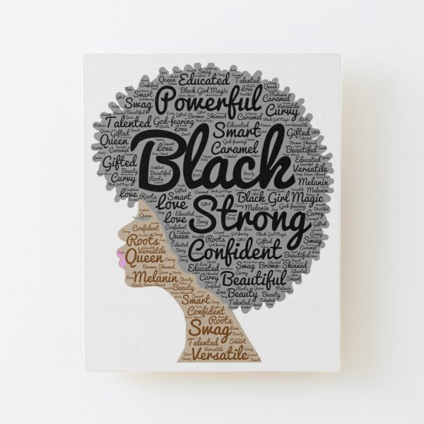 Black Woman Natural Hair Words In Afro Wood Mounted Print
