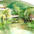 """""""Mouth of the Cuale"""" - oil painting of a river in Mexico by James  Knowles"""