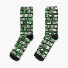 Book Case Pattern - Green and Grey Socks