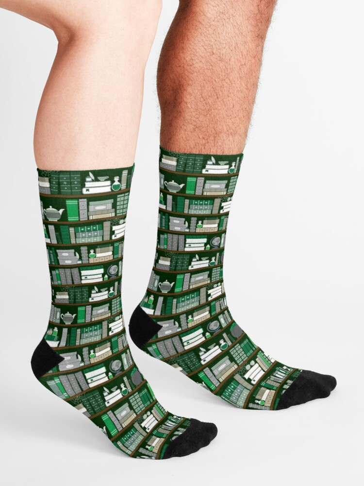 Alternate view of Book Case Pattern - Green and Grey Socks