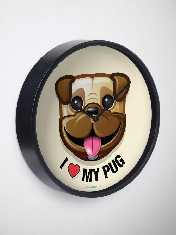 Alternate view of I Love My Pug Clock