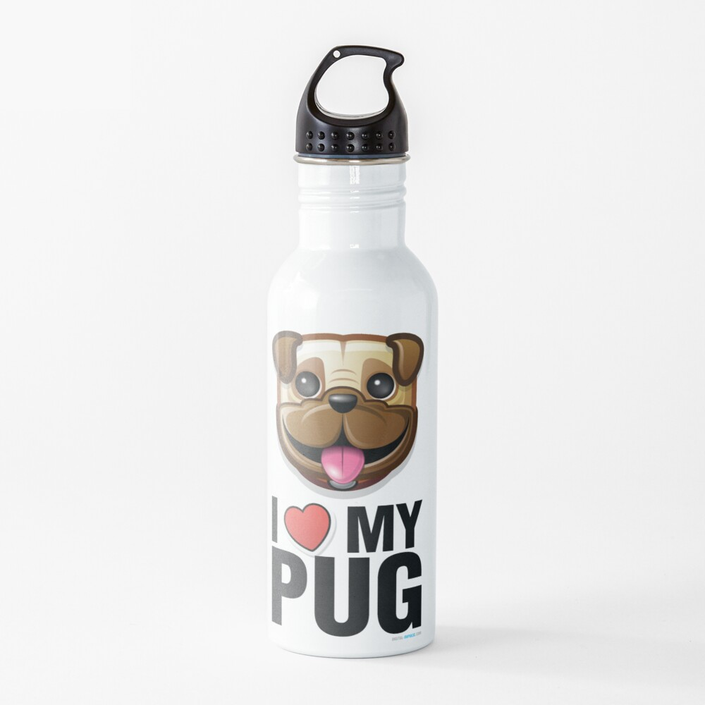 I Love My Pug Water Bottle