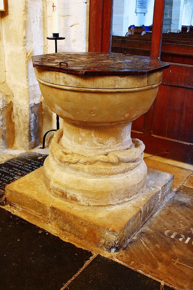 Font at St Mary The Virgin Salehurst by Dave Godden