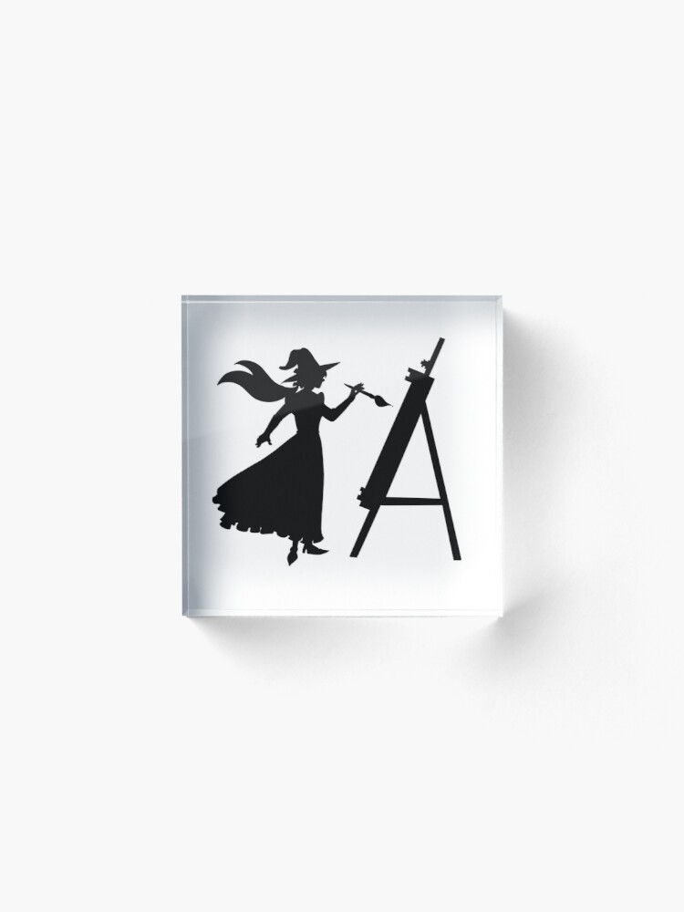 Alternate view of A witch's silhouette Acrylic Block