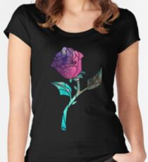 Stained Glass Rose Galaxy Women's Fitted Scoop T-Shirt
