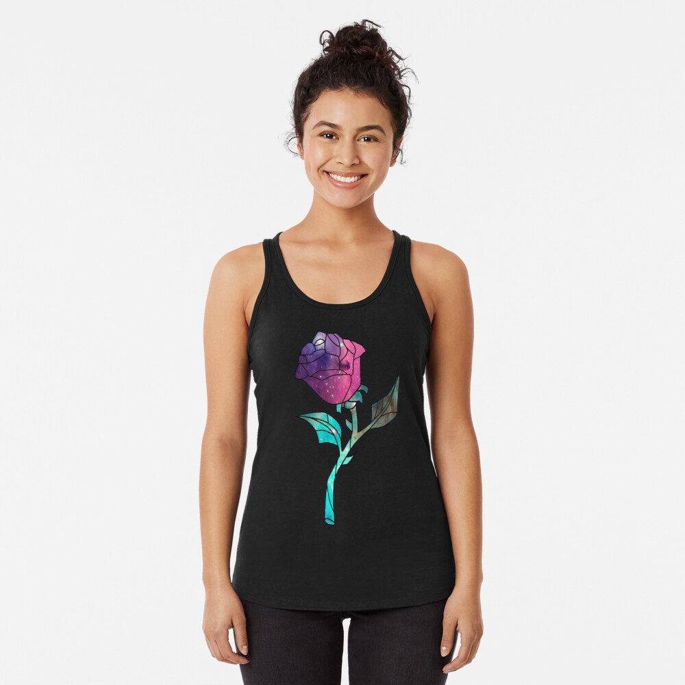 Stained Glass Rose Galaxy Racerback Tank Top