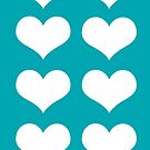 White Hearts On Turquoise by hurmerinta