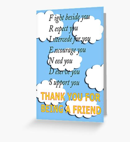 friends acrostic Greeting Card