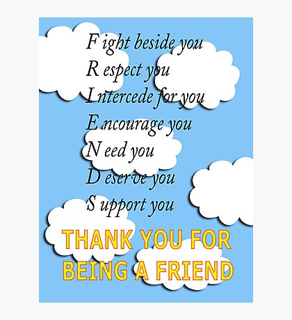 friends acrostic Photographic Print