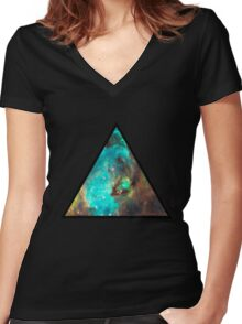 Green Galaxy Triangle Women's Fitted V-Neck T-Shirt