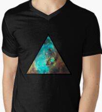 Green Galaxy Triangle Men's V-Neck T-Shirt