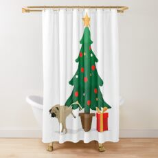 Pug and Gift under the Christmas Tree Shower Curtain