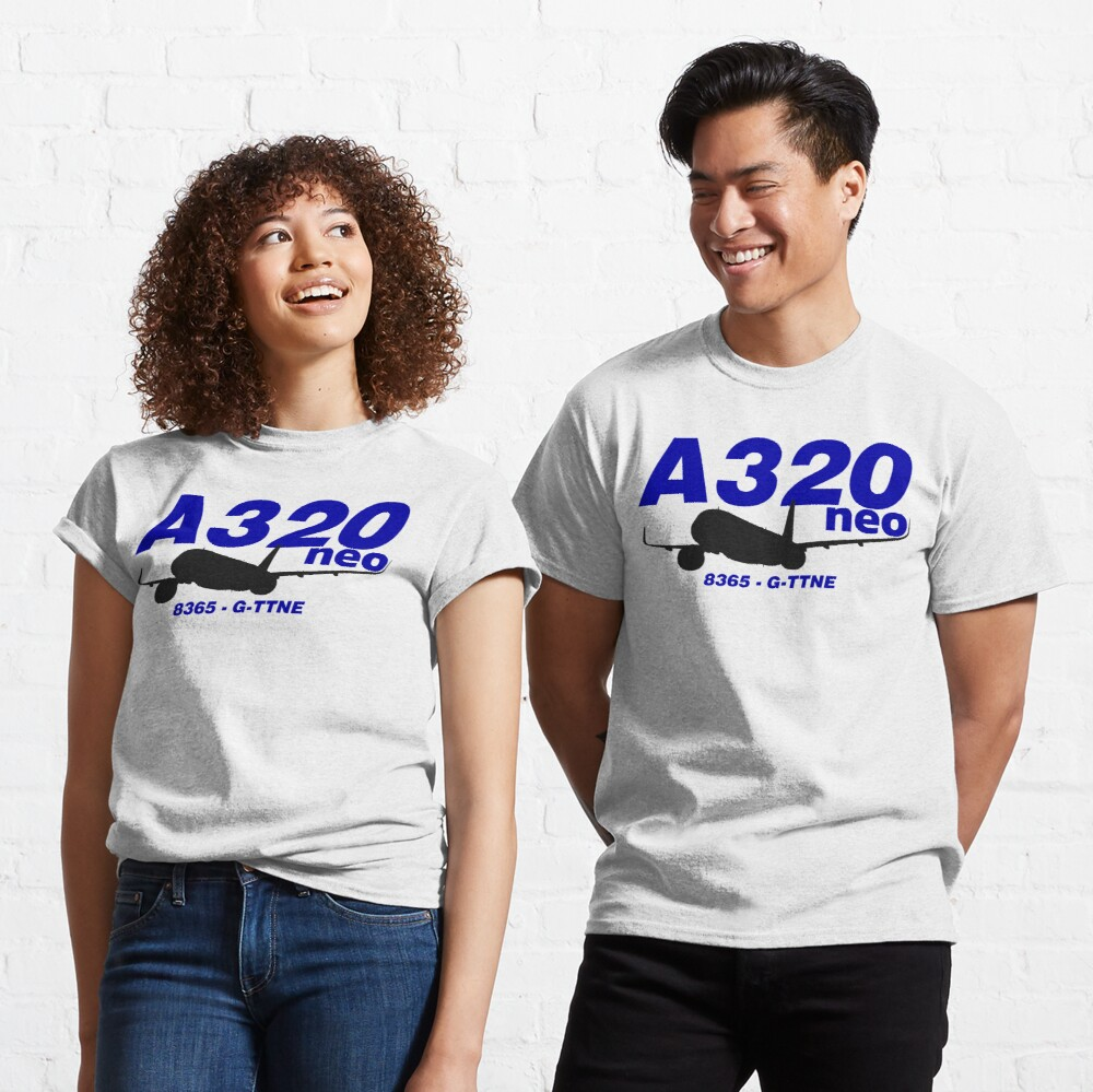 A320neo 8365 G-TTNE (Black Print) Classic T-Shirt