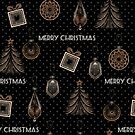 New Year, Christmas design, vintage, retro, black, polka dot, paper craft by fuzzyfox