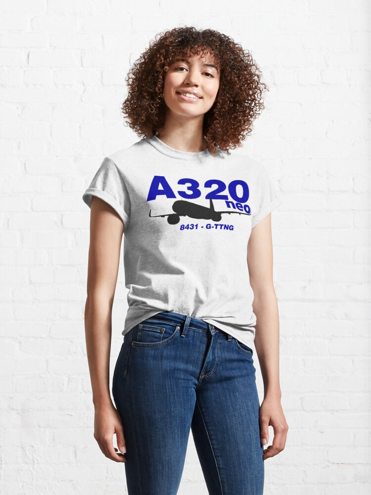 Alternate view of A320neo 8431 G-TTNG (Black Print) Classic T-Shirt