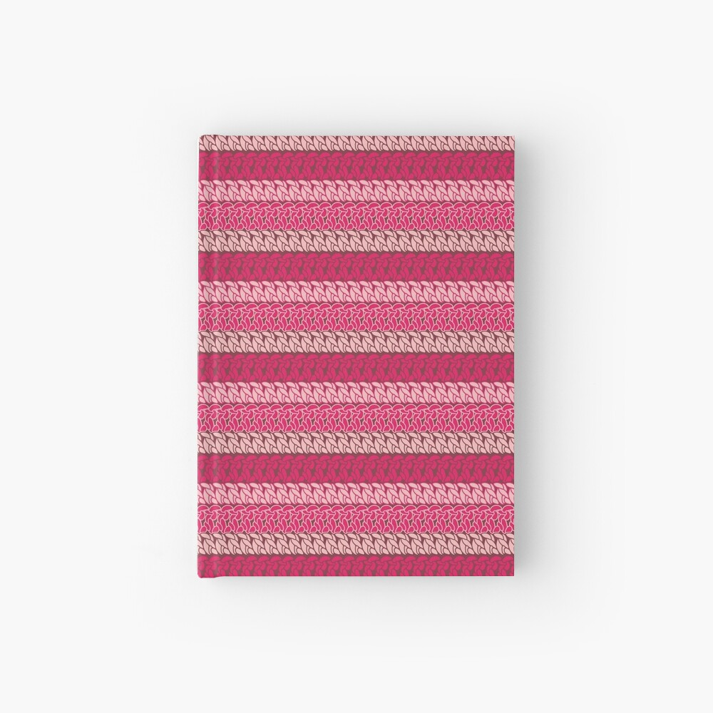 Faux double crochet stitch pattern with pink, wine red and blush pink Hardcover Journal