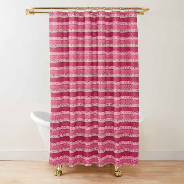 Faux double crochet stitch pattern with pink, wine red and blush pink Shower Curtain