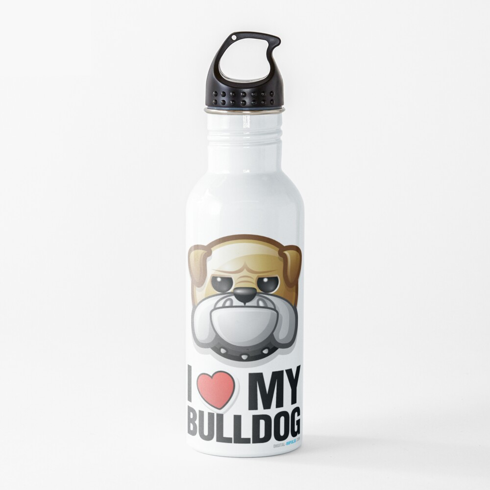I Love My Bulldog Water Bottle