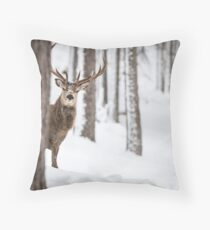 Red deer stag Christmas  Throw Pillow