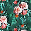 Retro Rose Chintz in Melon Pink on Dark Emerald Green by micklyn