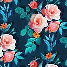 Retro Rose Chintz in Bright Coral and Peach on Indigo Blue by micklyn