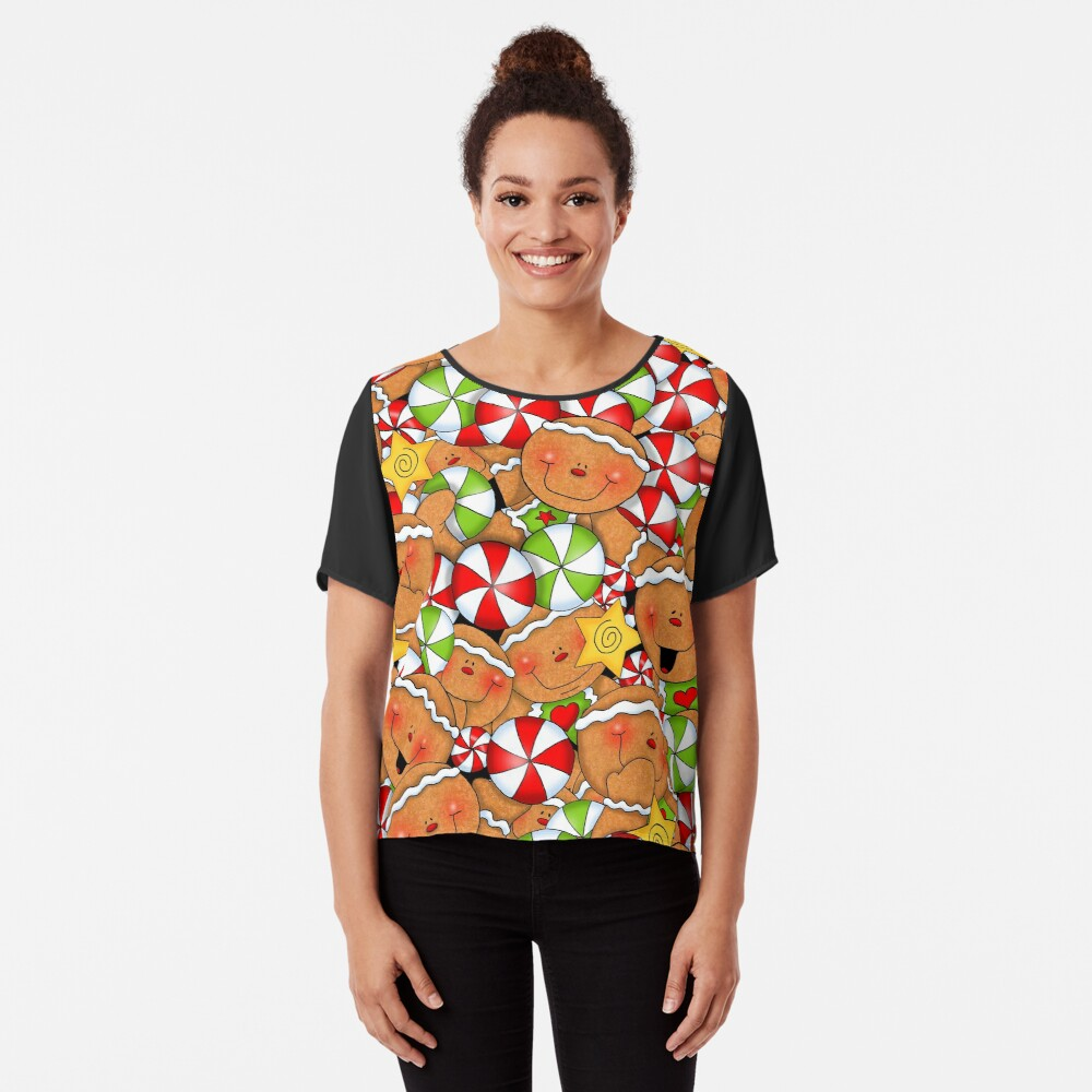 Holiday Gingerbread and Spice Chiffon Top