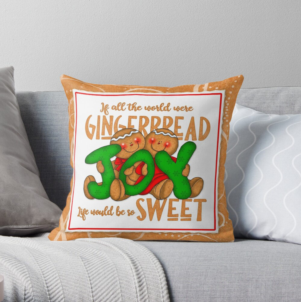 Holiday Gingerbread and Spice Throw Pillow