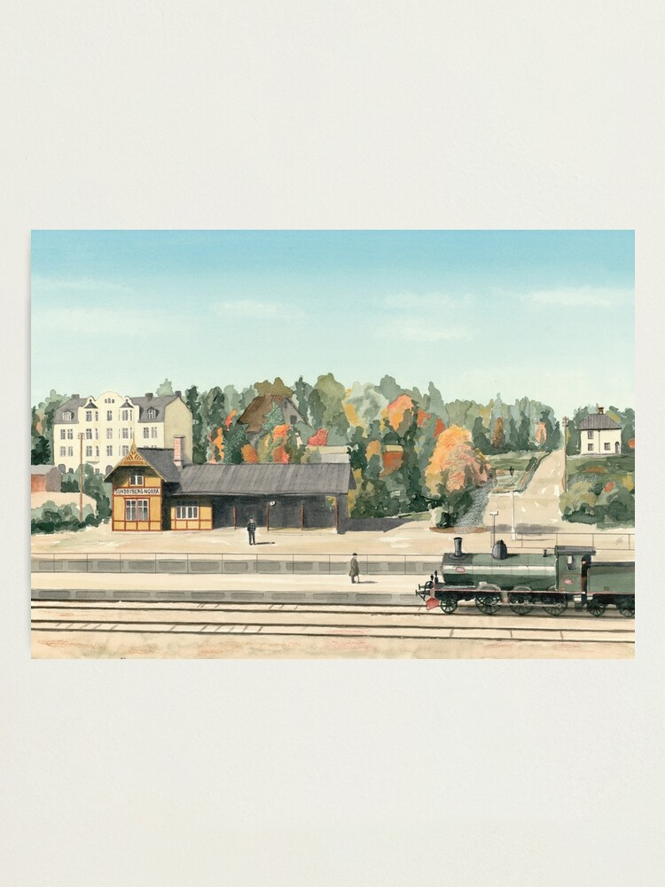 Alternate view of Sundbyberg North Railway Station, Sweden, circa 1910 Photographic Print