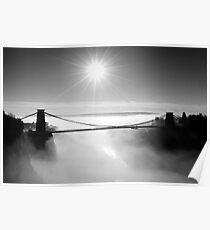 Clouds under the Clifton Suspension Bridge, Bristol Poster