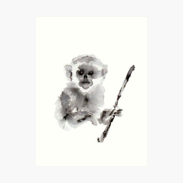 Ink Baby Snub Nosed Monkey Art Print