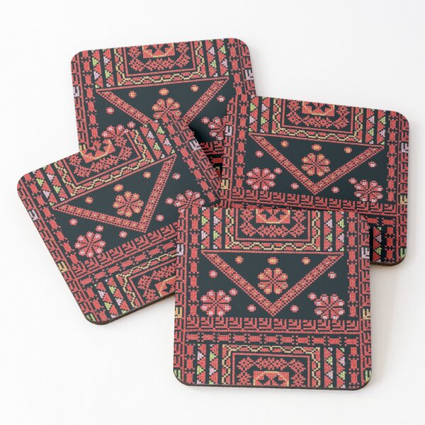 Three Flowers Palestinian Embroidery Coasters (Set of 4)