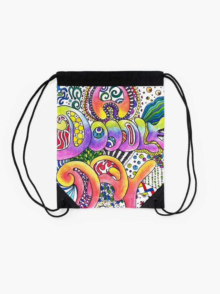 Alternate view of A Doodle Day Words   Trippy Free Spirit Hippy Drawstring Bag