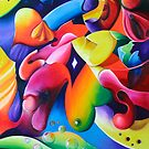 """""""Preconceptions"""" - colorful abstract expressionistic oil painting by James  Knowles"""