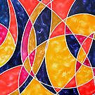 """""""Moon Dance"""" - colourful geometric abstract oil painting by James  Knowles"""