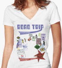 usa california road trip tshirt by rogers bros Women's Fitted V-Neck T-Shirt