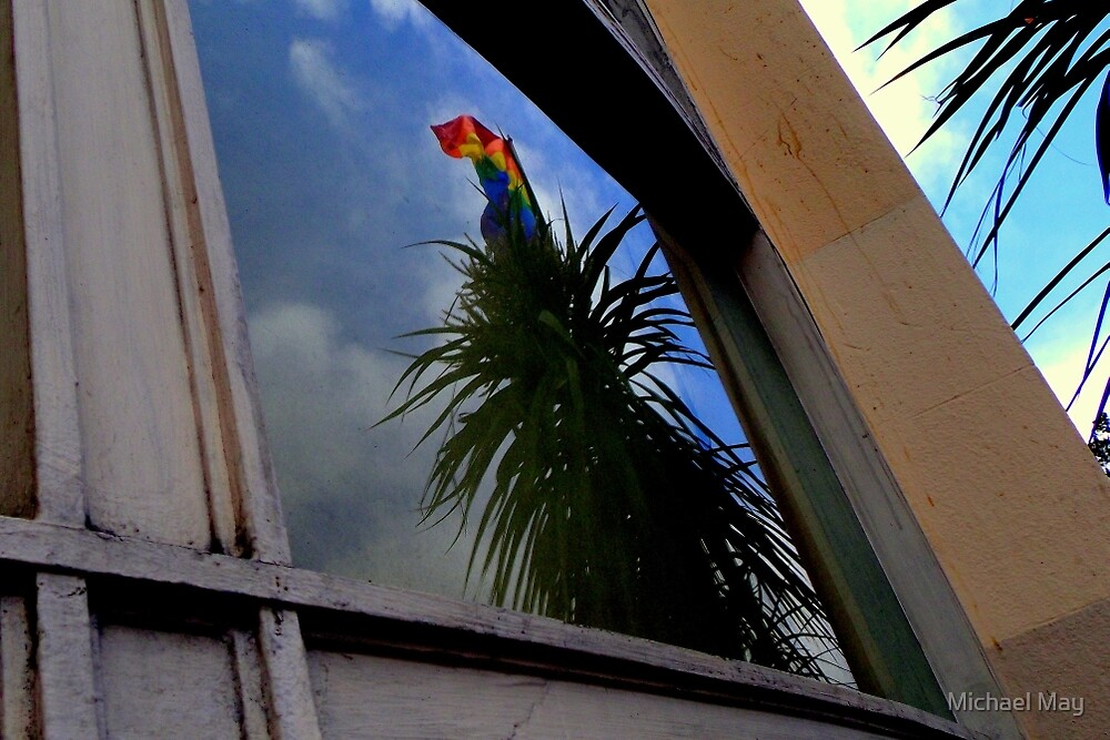Organic Rainbow Flagpole Reflected by Michael May