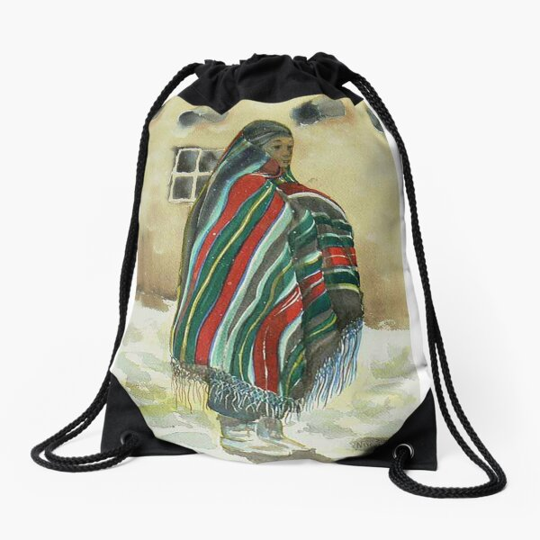 First snow on the Pueblo Drawstring Bag