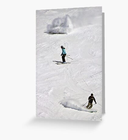 The three stages of the skiier: BEGINNER! INTERMEDIATE! ADVANCED! Greeting Card