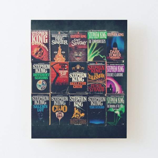 Stephen King Book Fronts Wood Mounted Print