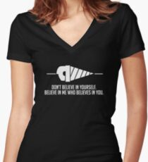 Believe in Me Who Believes in You. [Black] Women's Fitted V-Neck T-Shirt