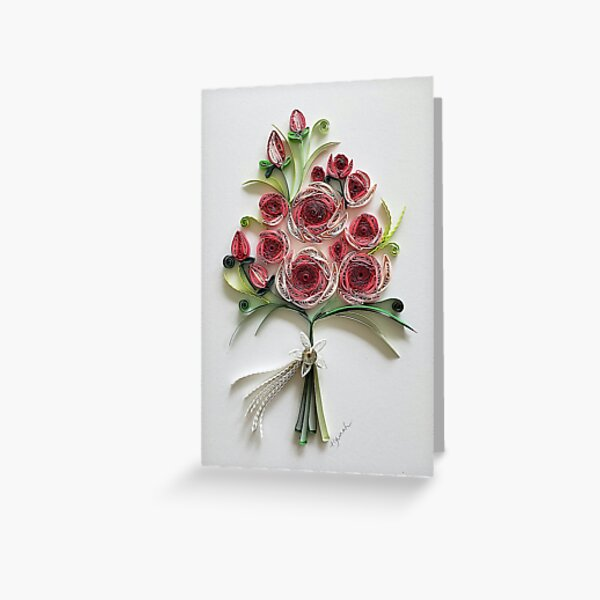 Paper quilling Art. Rose bouquet. Wedding card.  Greeting Card