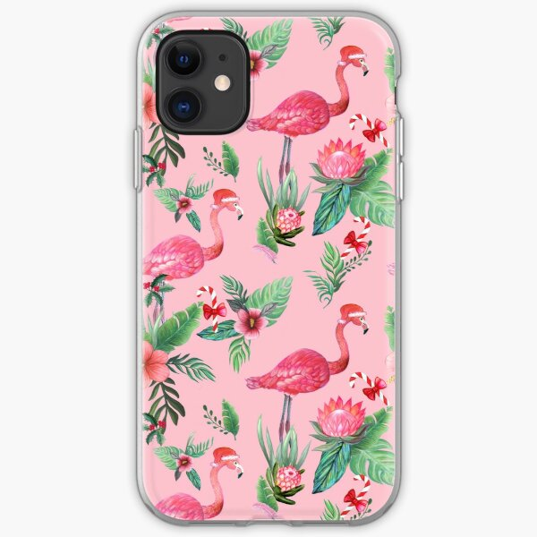 Flamingo Santa on Pink with candy canes / Tropical Christmas iPhone Soft Case