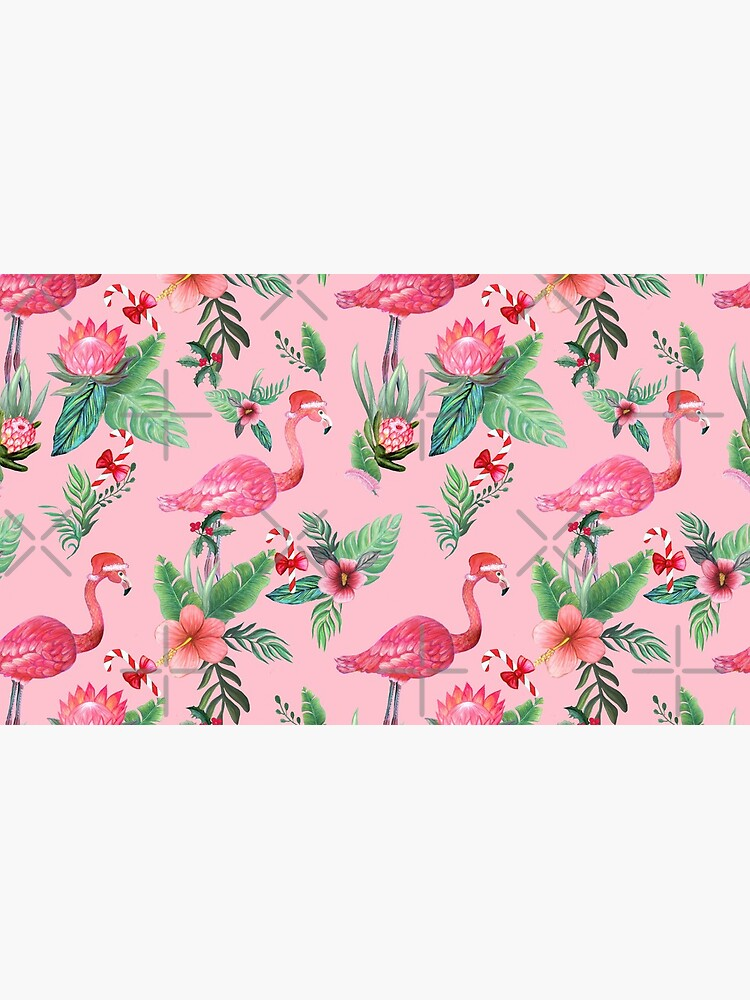 Flamingo Santa on Pink with candy canes / Tropical Christmas by MagentaRose