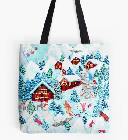 Christmas Eve in Zermatt  watercolor painting with kids, reindeer, owls, mountains, mountain goats, kids and christmas trees Tote Bag