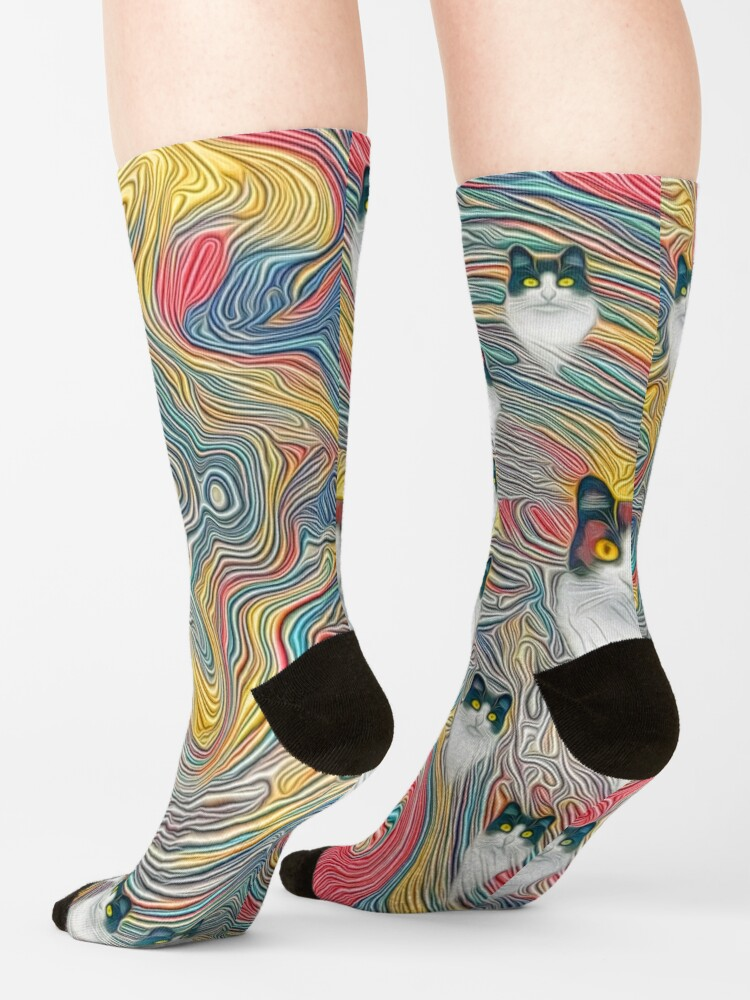 Alternate view of Abstract fibonacci cats Socks