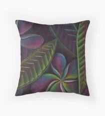 Frangipanis on black Throw Pillow