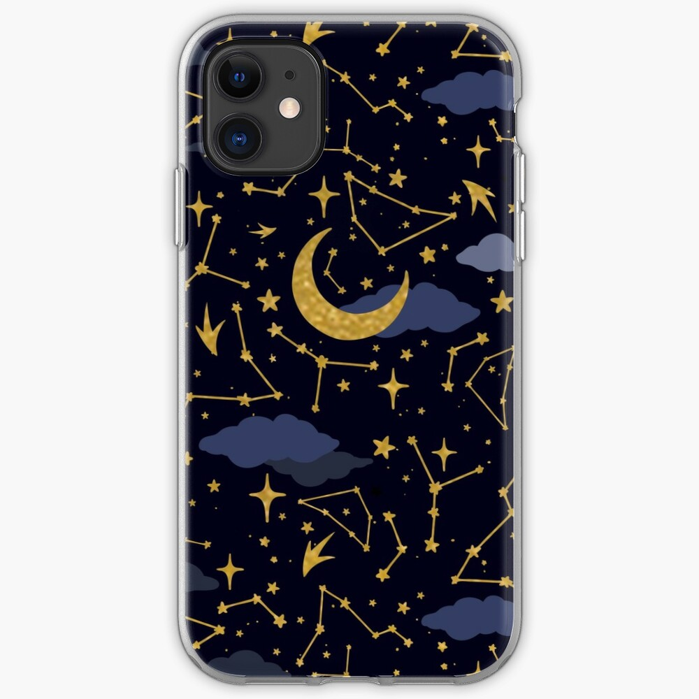 Celestial Stars and Moons in Gold and Dark Blue iPhone Case & Cover