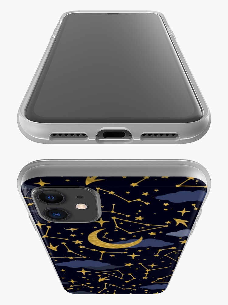 Alternate view of Celestial Stars and Moons in Gold and Dark Blue iPhone Case & Cover