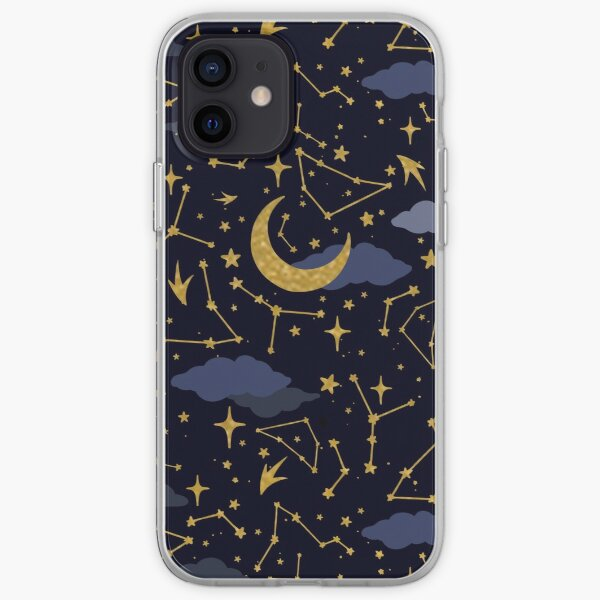 Celestial Stars and Moons in Gold and Dark Blue iPhone Soft Case