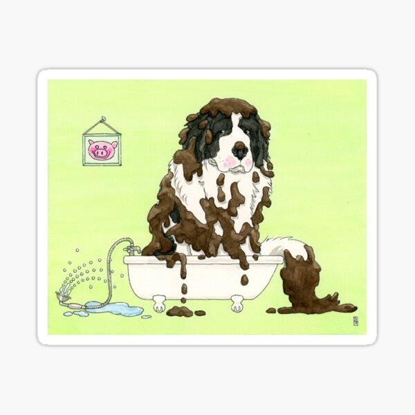 Bath Time For Muddy Puppy Sticker